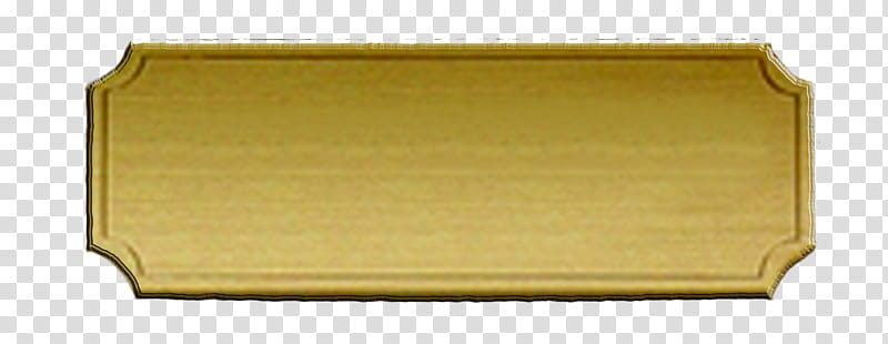 Brass Nameplate, rectangular brown wooden board transparent.