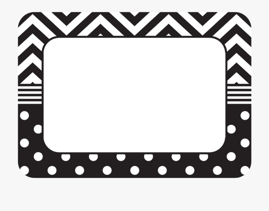 Black & White Chevrons And Dots Name Tags/labels.