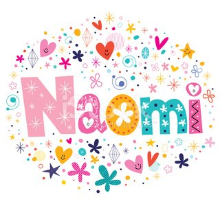 Naomi female name design decorative lettering type Clipart.