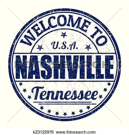 Clip Art of Welcome to Nashville stamp k23122976.
