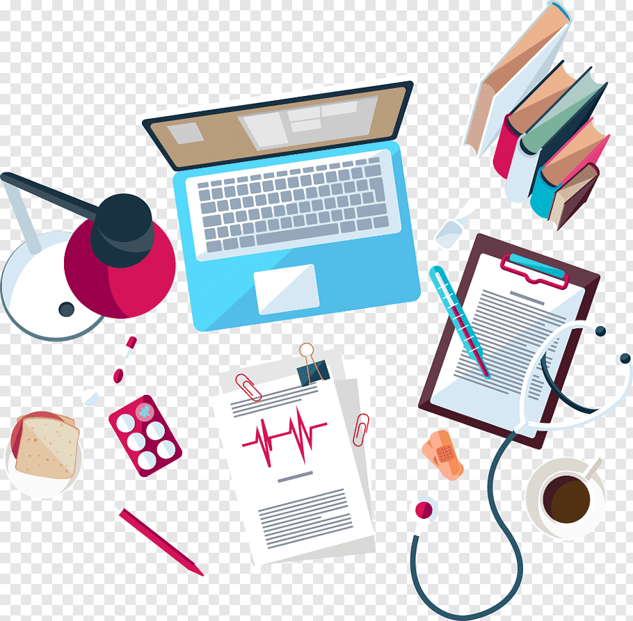 Blue and white laptop computer illustration, Health Care.