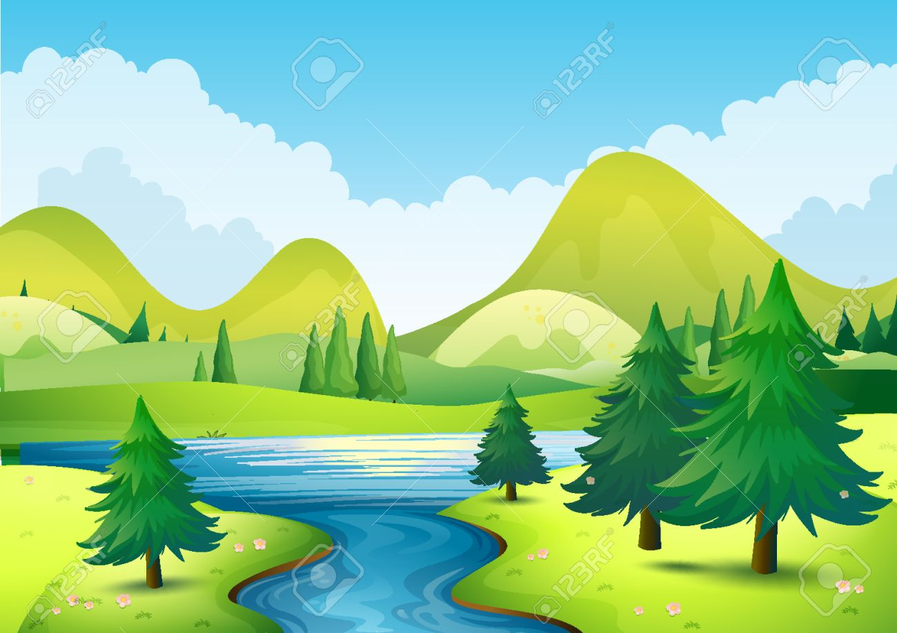 Nature scene with river and hills illustration.