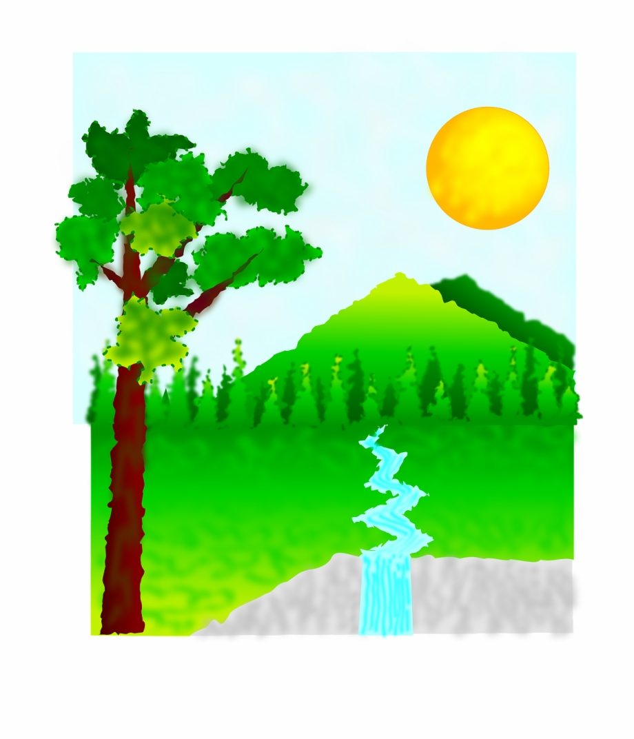 Sun Mountain Water Green Trees Png Image.
