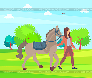 Woman and Horse on Nature, Park or Farm Forest.