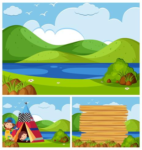 Three nature scenes with kids camping.