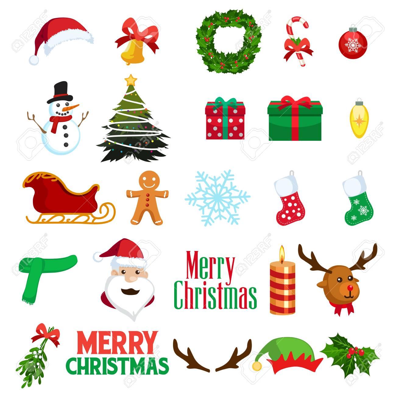 Una ilustración vectorial de invierno de Navidad Clipart Iconos.