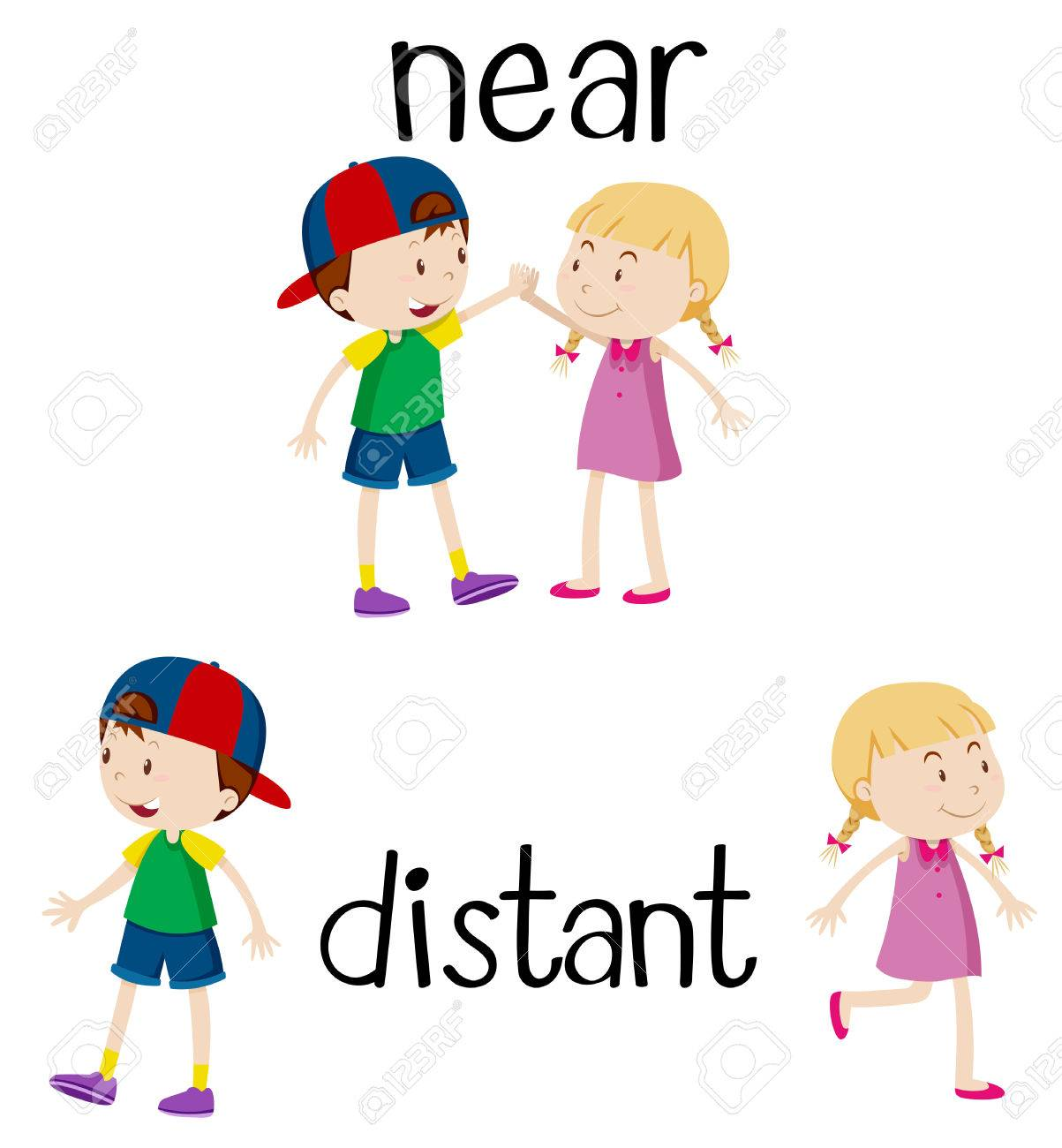 Opposite words for near and distant illustration.