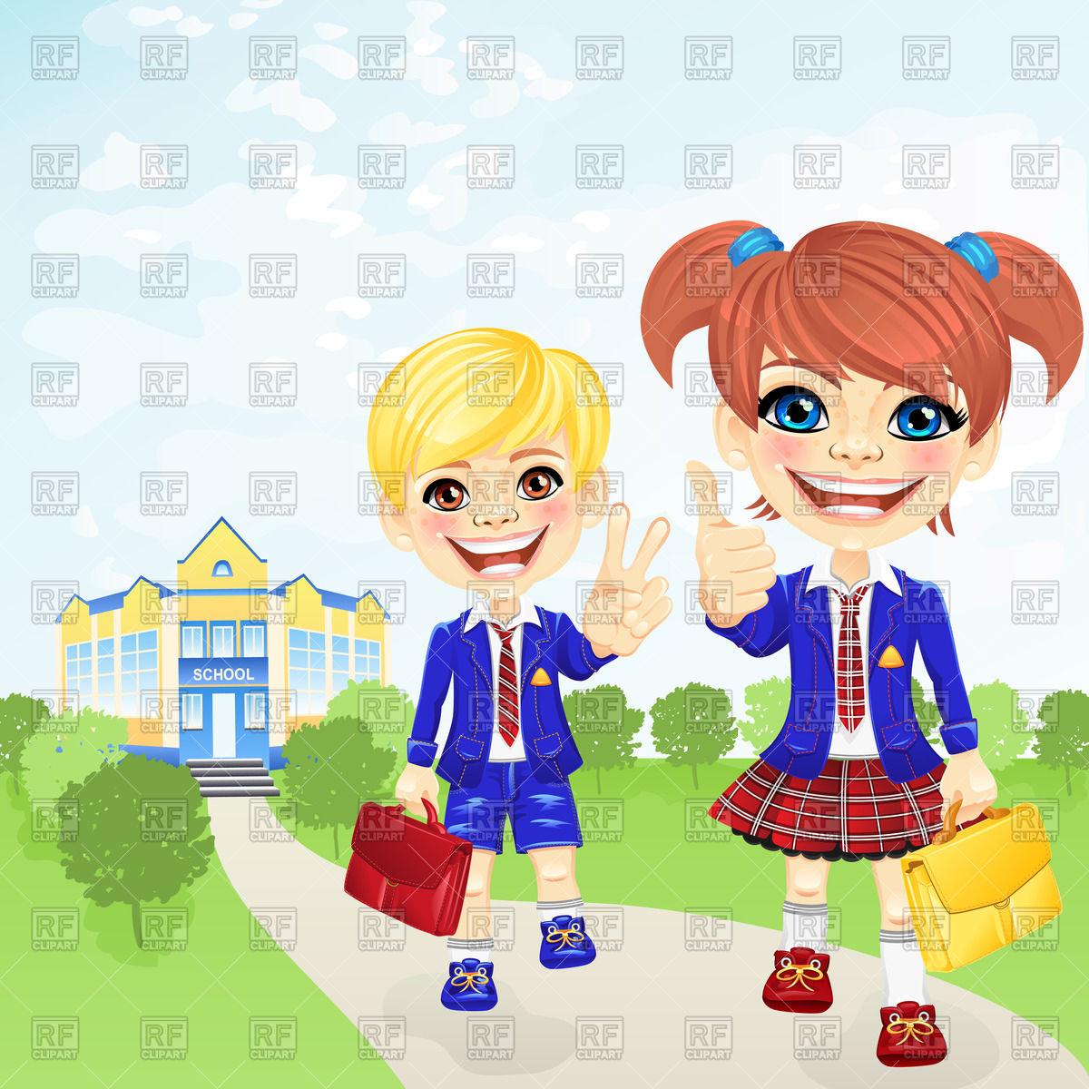 Smiling schoolgirl and schoolboy near school Stock Vector Image.