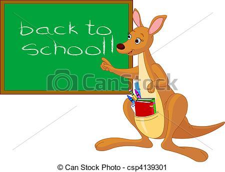 Cartoon Kangaroo near chalkboard.