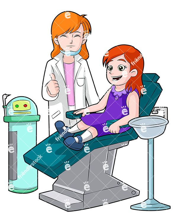 A Happy Little Girl In A Dentist Chair With Dentist Nearby.