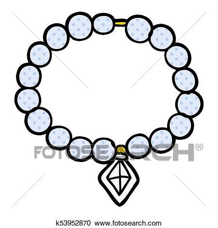 Cartoon pearl necklace Clipart.