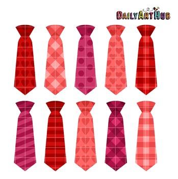 Valentine Neckties Clip Art.