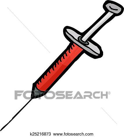 Isolated Hypodermic Needle Syringe Clipart.