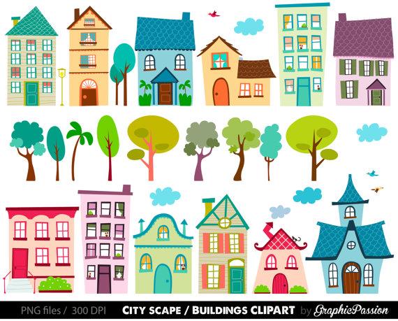 Houses Clip Art Set.