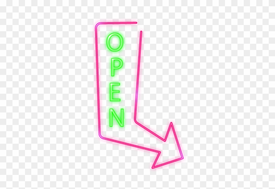 Open Arrow Neon Sign Clipart (#2399274).