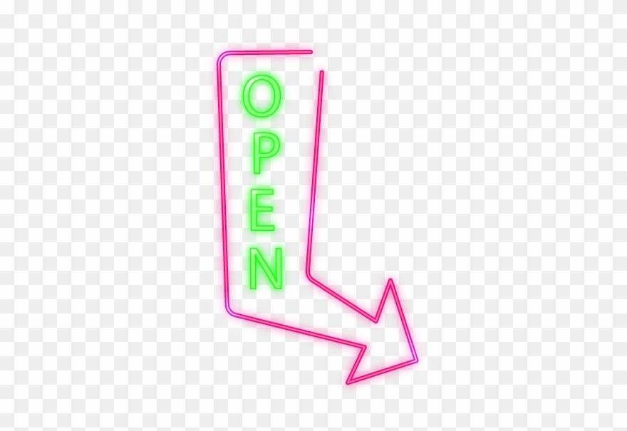 Open Arrow Neon Sign Clipart (#2399274).