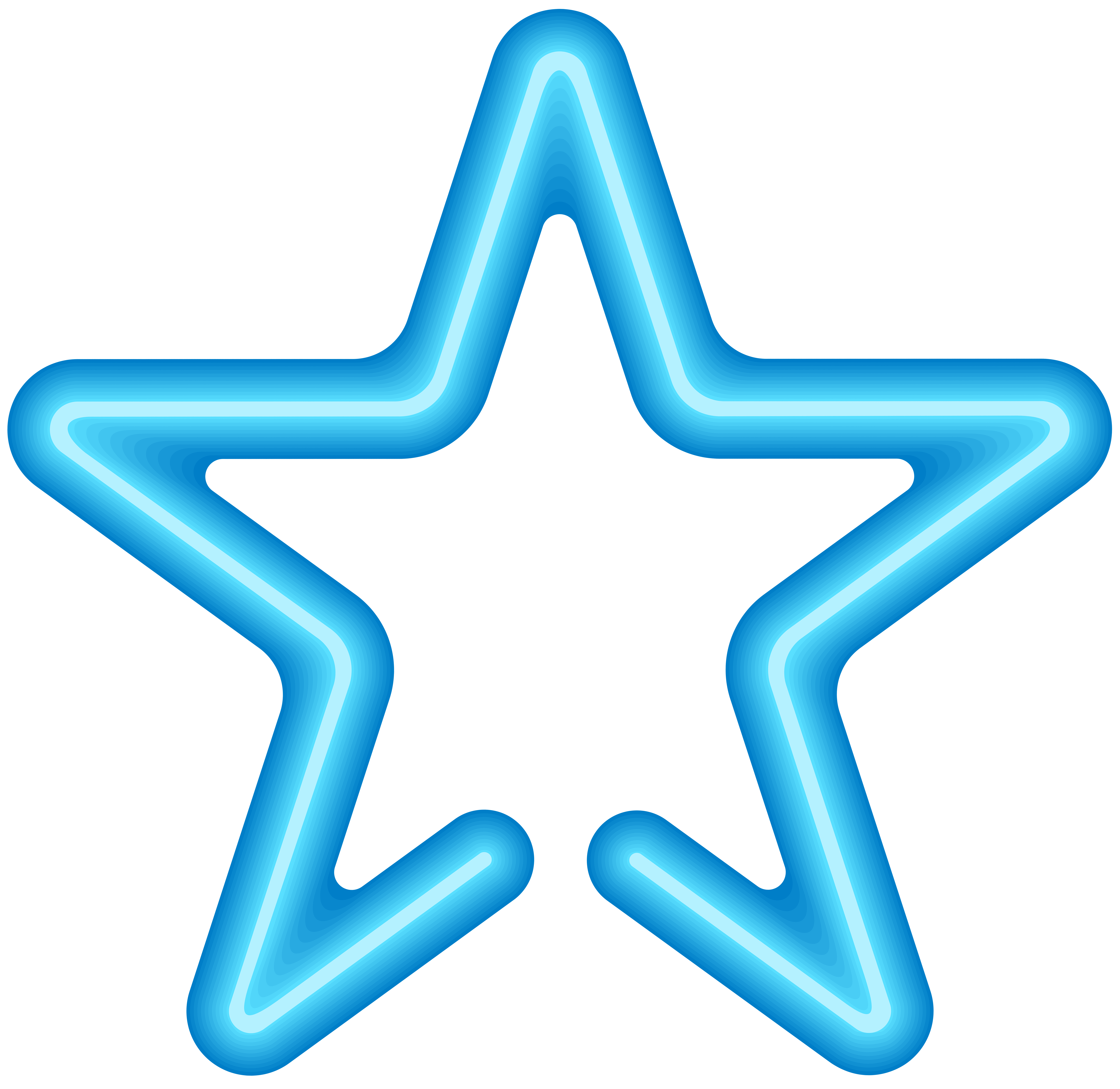 Neon Star PNG Clip Art Image.