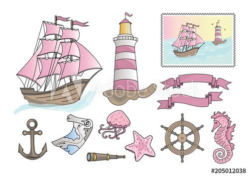 Cartoon Clipart PINK SEA Color Vector Illustration Magic Beautiful.