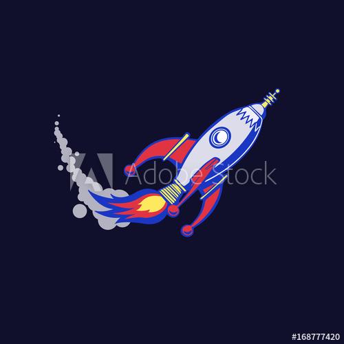 Metallic spaceship that takes off on a dark blue background, poster.