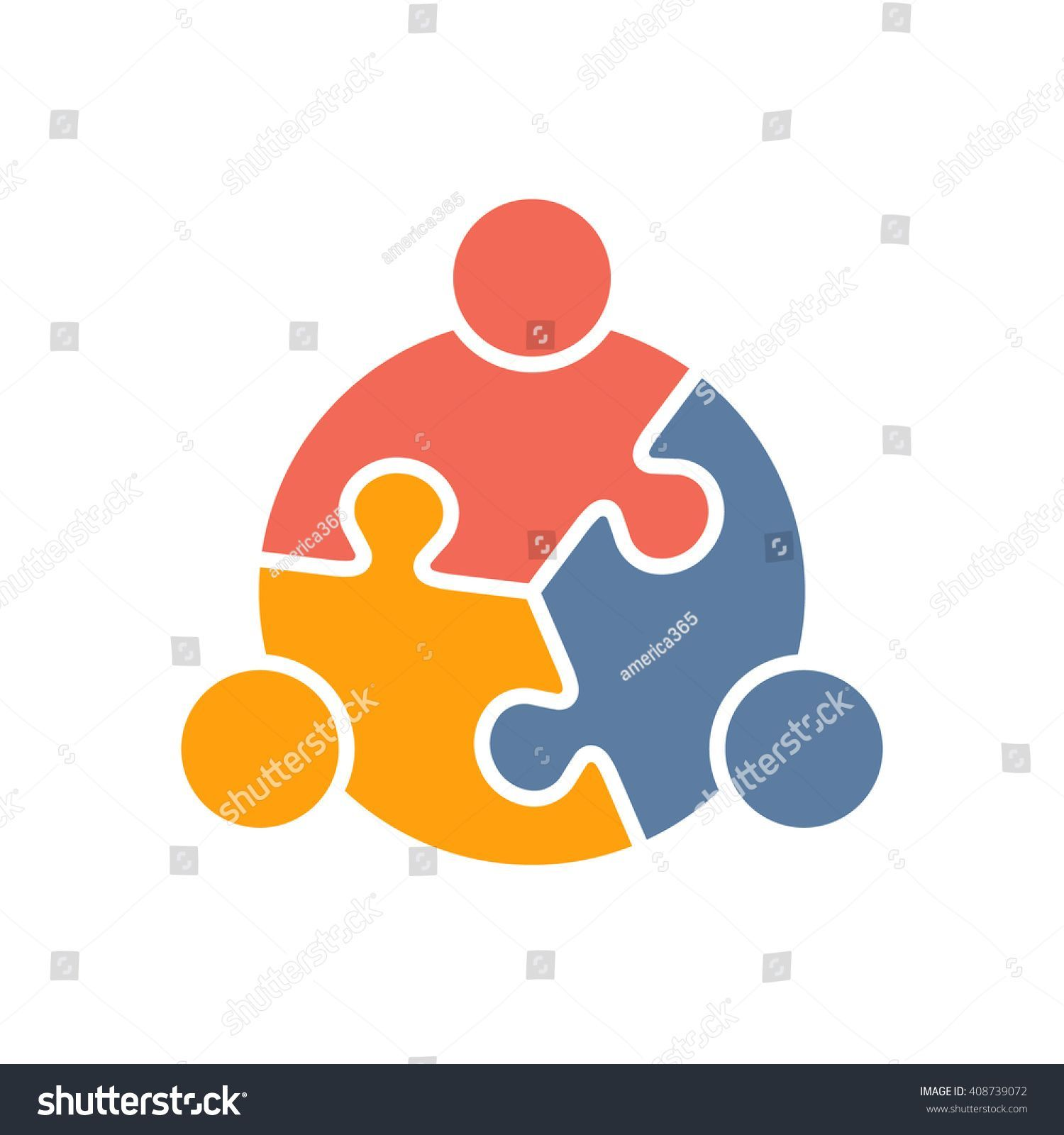 Teamwork People puzzle three pieces #people #social.