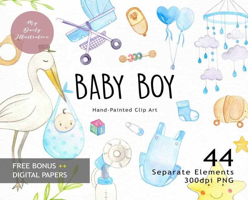Watercolor baby boy clipart set in png files digital download for baby  shower, newborn art, scrapbook album and planner stickers.