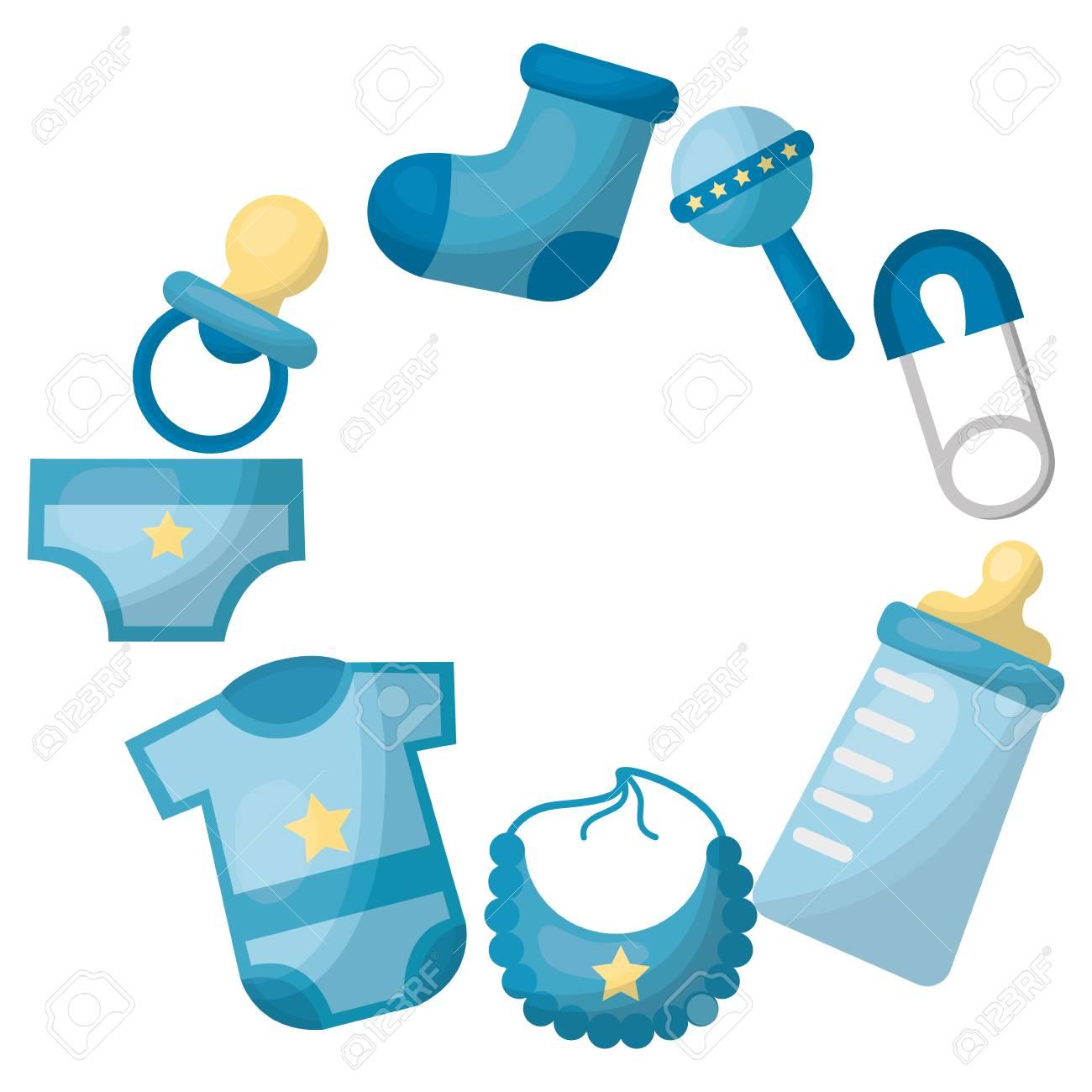 baby shower newborn boy gifts accessories vector illustration.