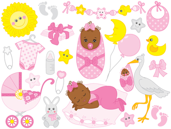 African American Baby Girl Clipart.