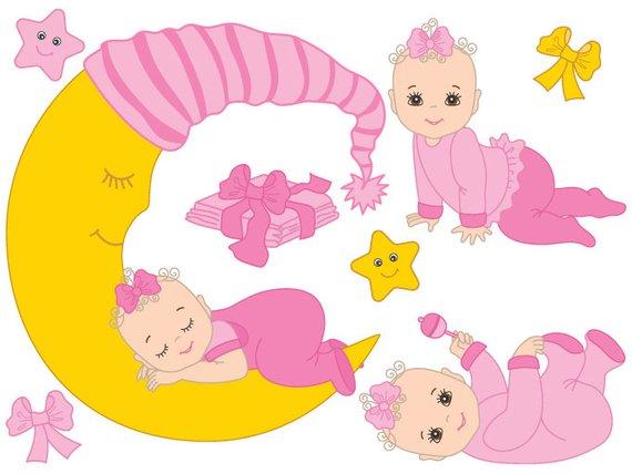 Baby Girl Clipart Digital Vector Infant Newborn Etsy Comfortable.