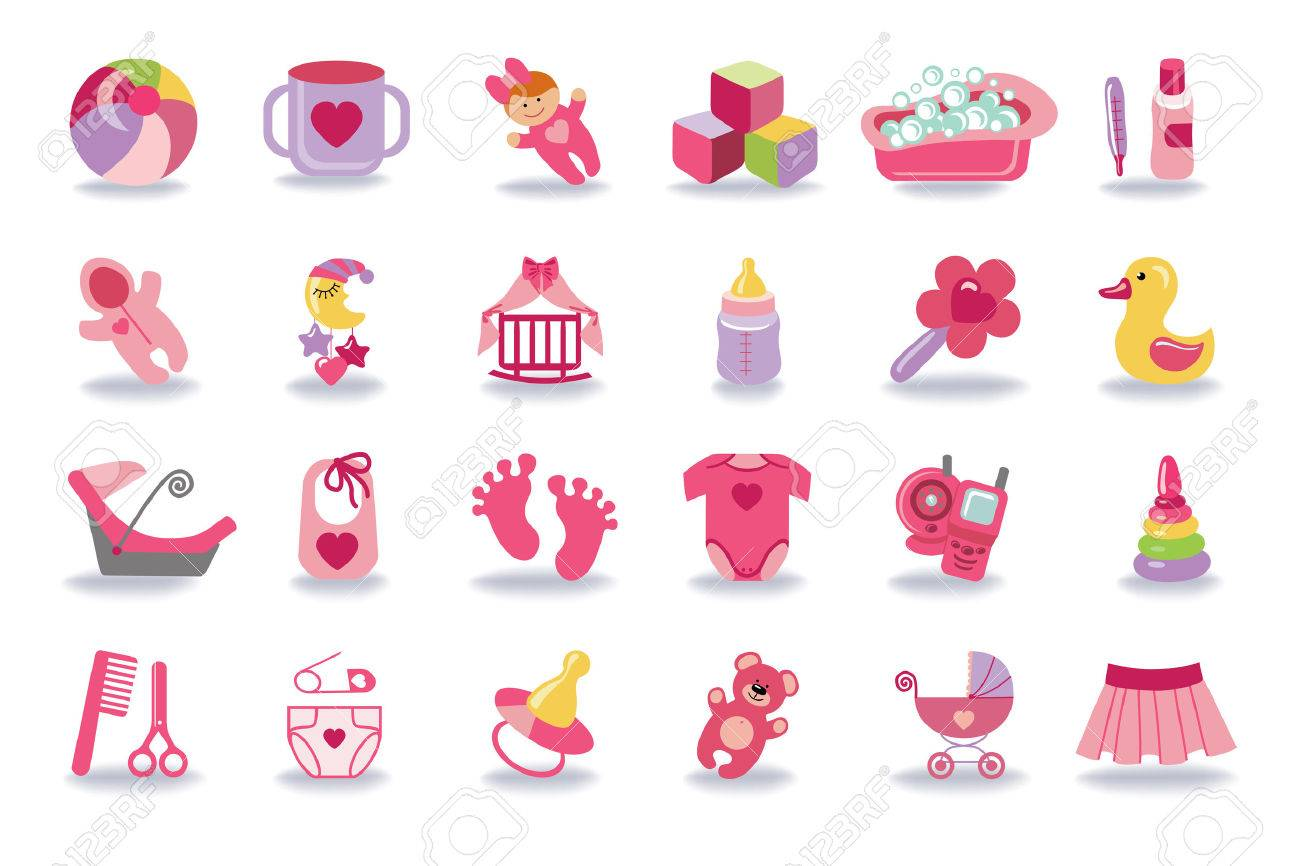 Newborn Baby girl icons set.Baby shower kit.