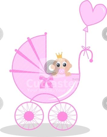 Newborn baby girl stock vector.