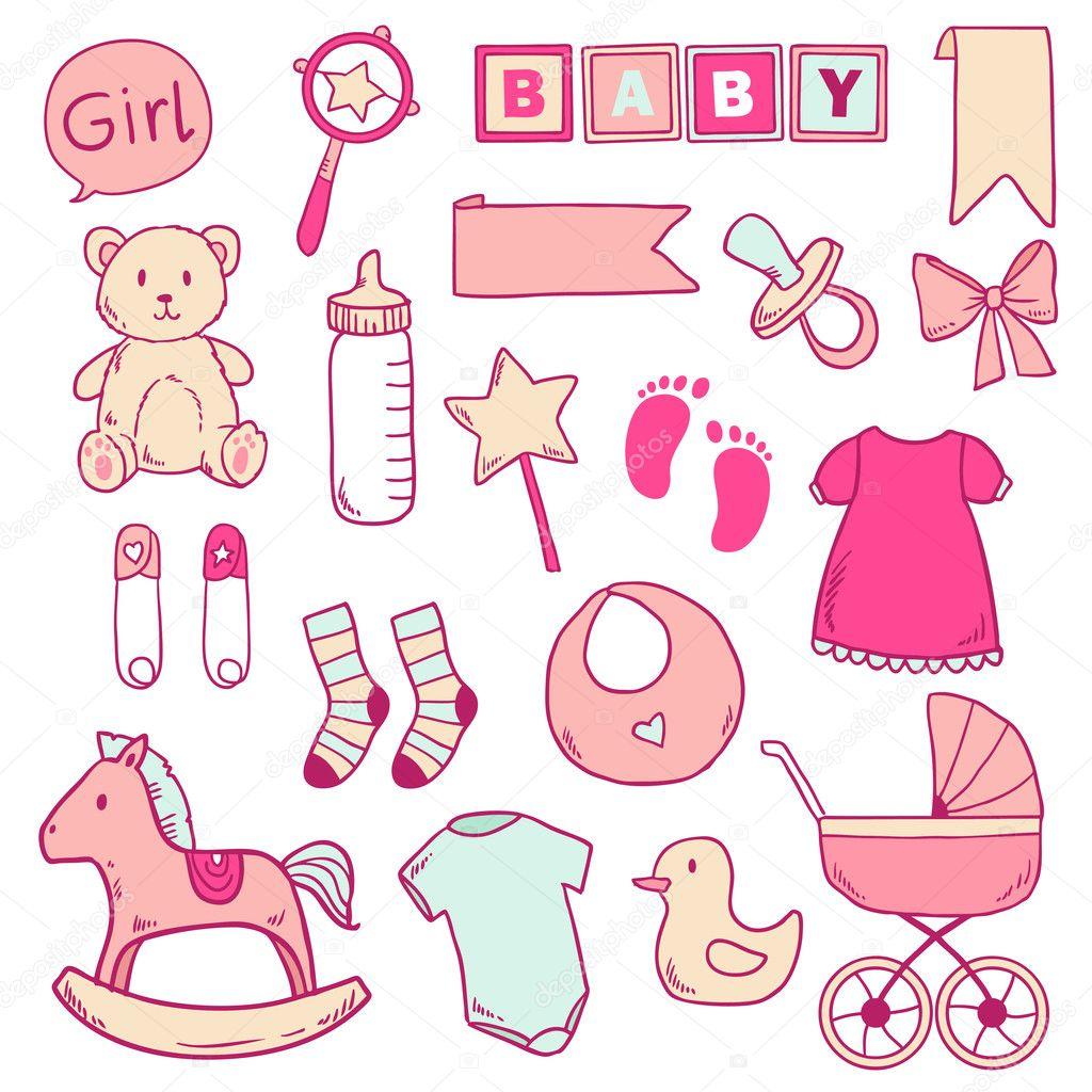 Clipart Of A Newborn Baby Girl.