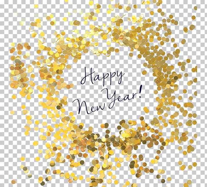 New Year\'s Day Wish Birthday Holiday, Gold background, happy.