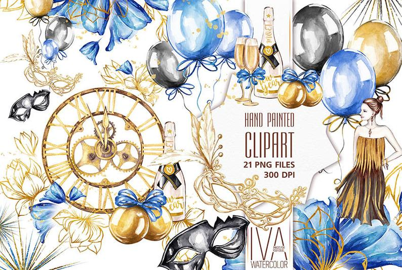 New Years clipart, New Years Party Clipart, New Years Eve Clipart, Clock,  Balloons,Fashion Girl New Year Clipart New Year Clipart Background.