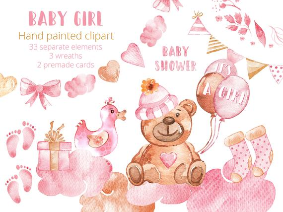 Baby Girl Clipart Set Watercolor New Baby Clip Art Hand Drawn Baby  Illustration Baby Shower Teddy Bear Newborn Baby Announcement.