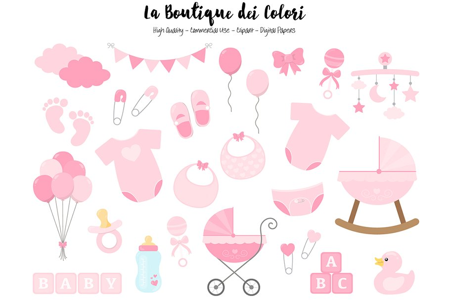 Pink New Baby Girl Clipart.