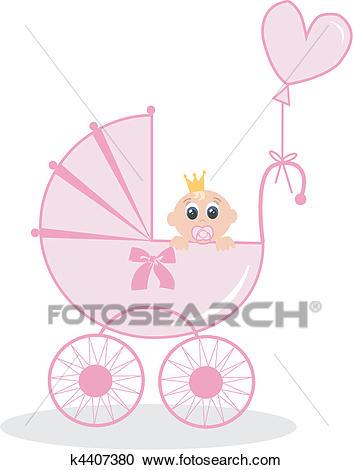 Newborn baby girl Clipart.