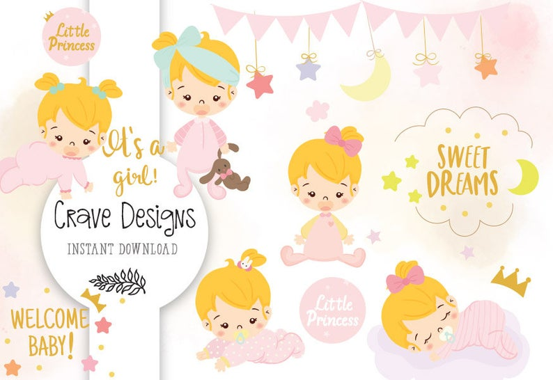 BABY SHOWER CLIPART New Baby Girl Clipart Pink Baby Shower Clip Art Stork  Baby Girl kids clipart it's a girl.