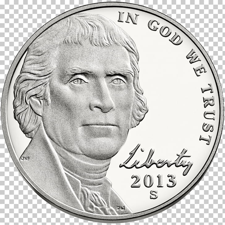 Monticello Philadelphia Mint Jefferson nickel Coin, Coin PNG.