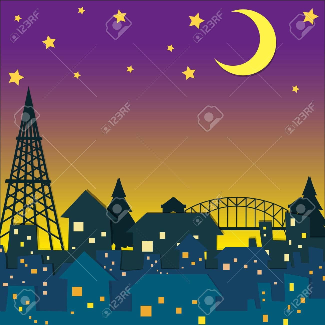 Neighborhood at night time illustration.