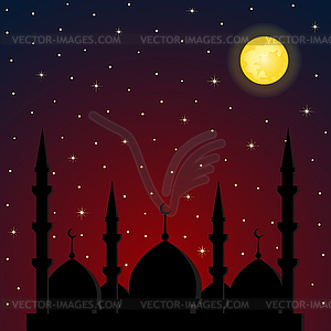 Night background with mosque silhouette.