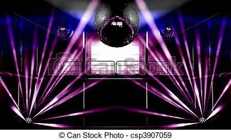 Stock Illustration of Night club colorful lights and disco balls.