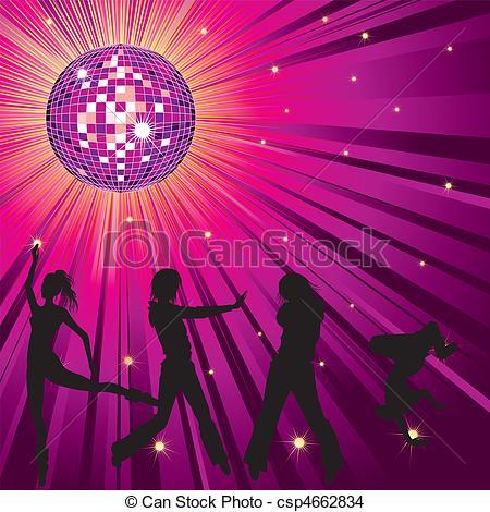 Vector Clipart of People dancing in night.