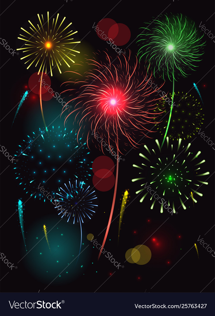 Fireworks in night sky clipart.