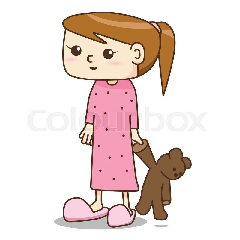 Cartoon girl in pajamas dress with her.