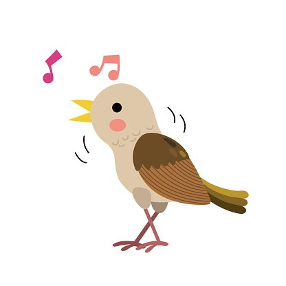Singing Nightingale bird animal cartoon character vector.