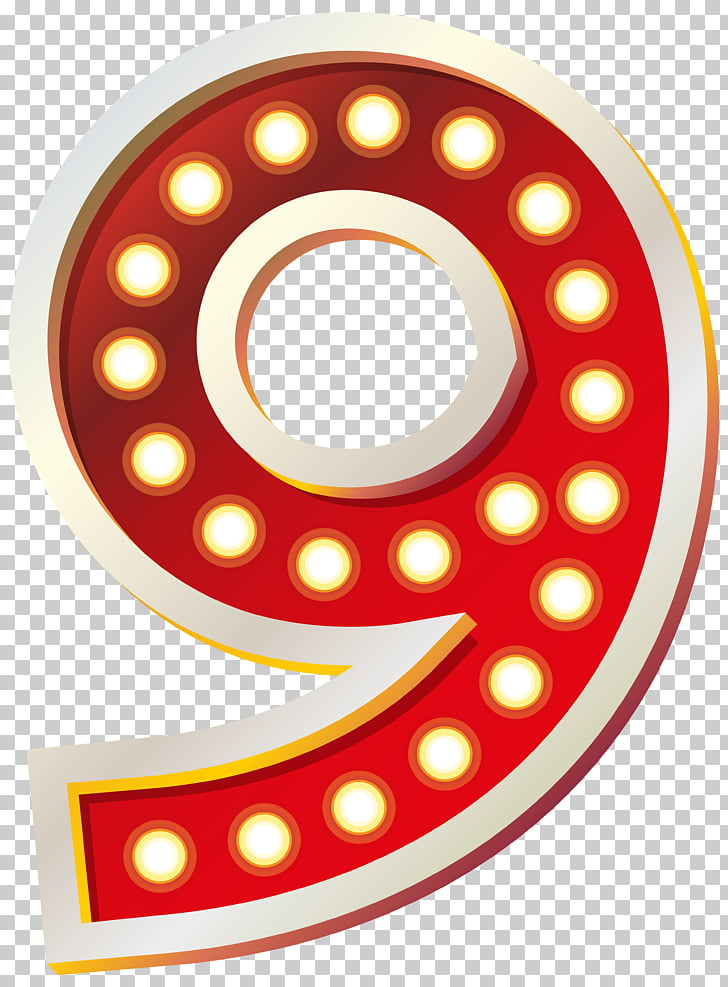 Wheel Pattern, Red Number Nine with Lights , red and white.