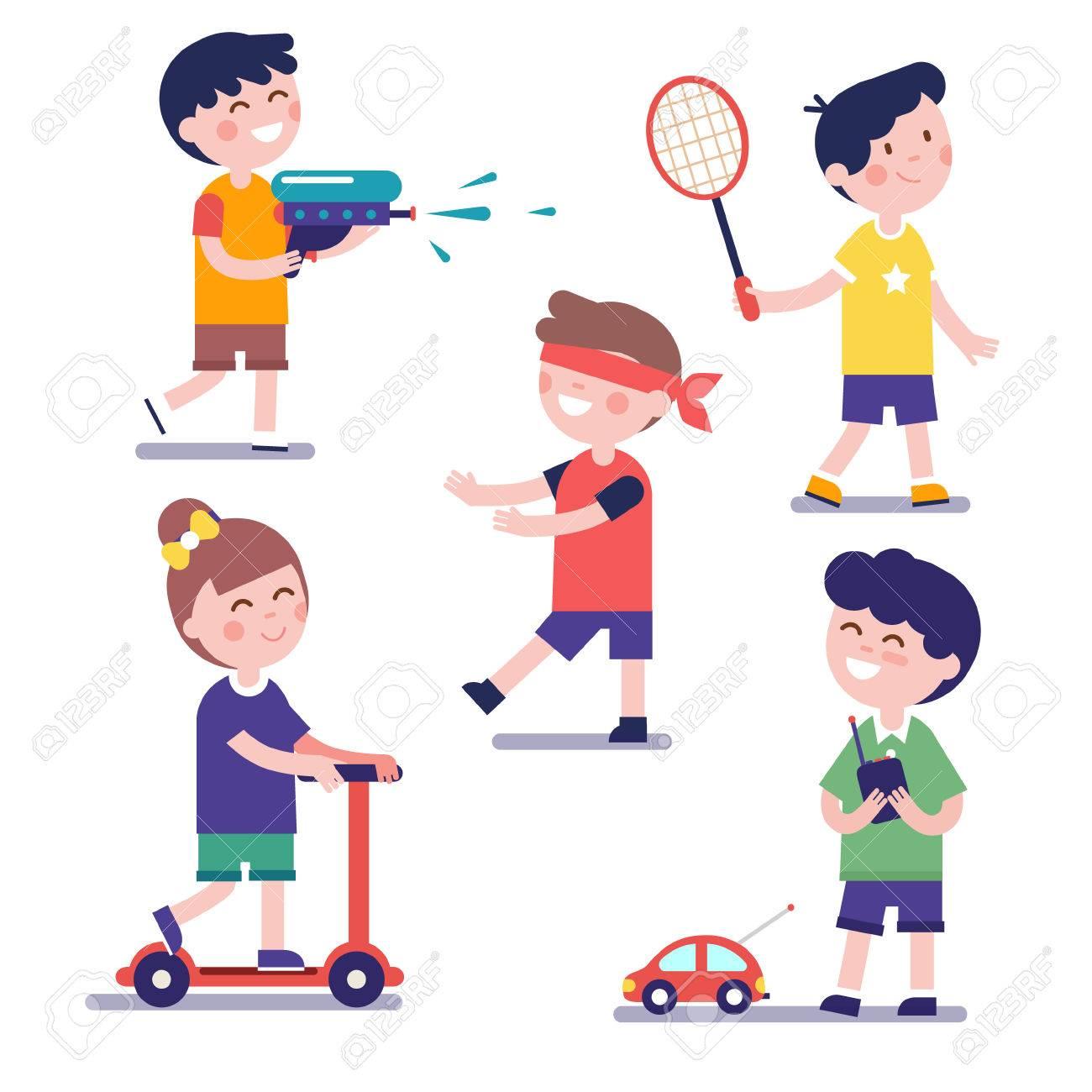 Se pueden configurar varios niños jugando. Ilustración del estilo moderno  plano. clipart personaje de dibujos animados..