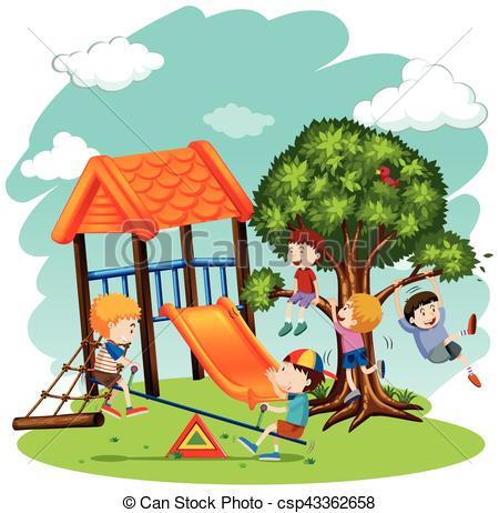 muchos, niños jugar, patio de recreo.