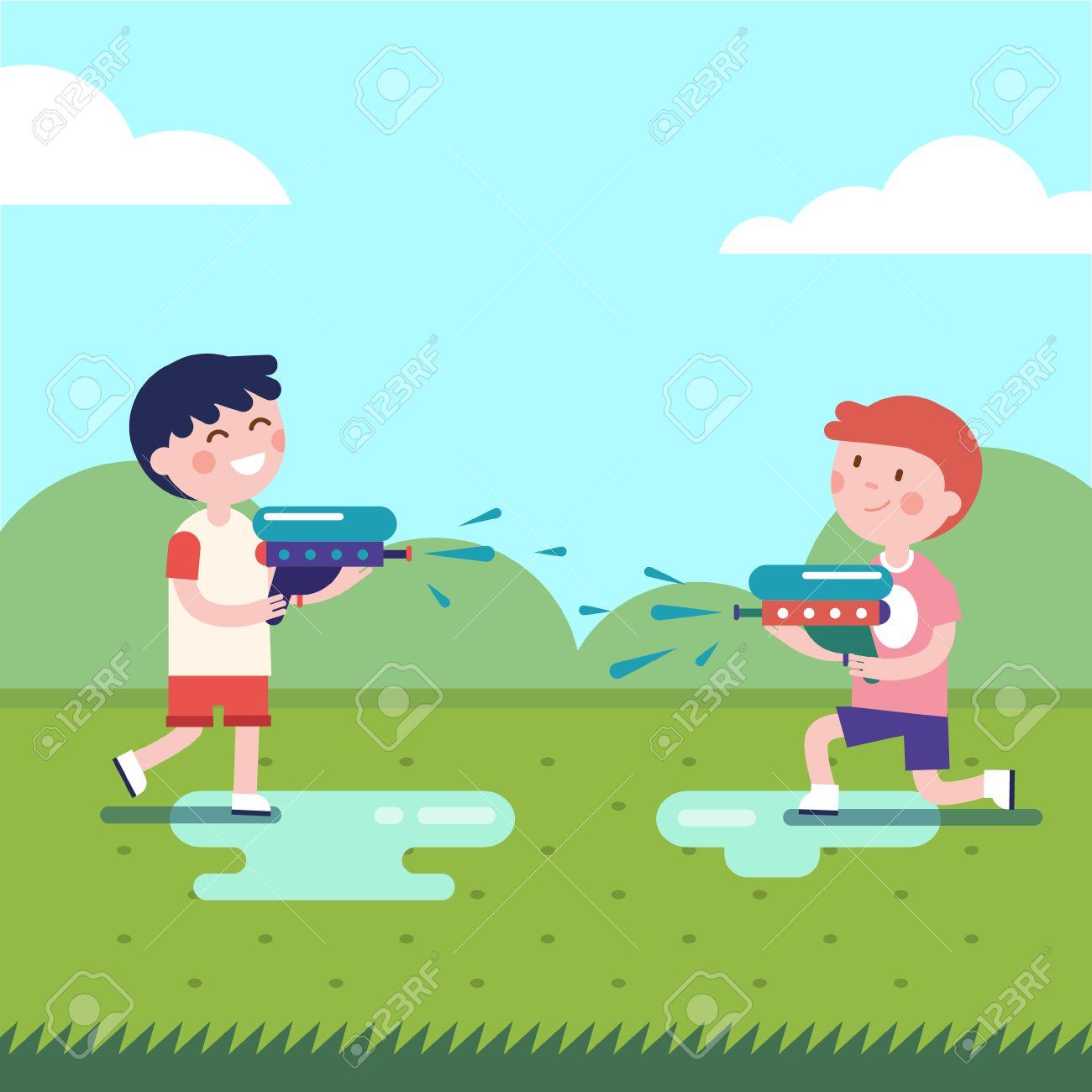 Dos niños jugando pistolas de agua guerras. niños mojados disparando  pistolas de agua. ilustración vectorial plana clipart moderna..