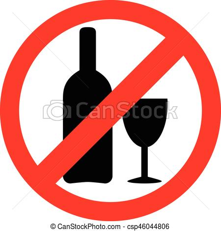 No alcohol sign. Drinking alcohol is forbidden icon..